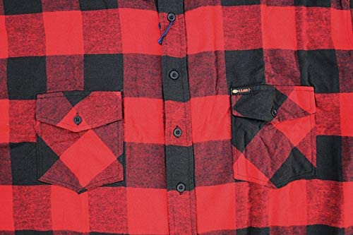 KAMRO Plus Sizes! Flannel Shirt in Woodcutter Style Red/Black Check 3XL - 14XL