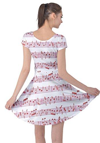 Cowcow Femmes Motif Cupidon Heureux Valentines Amour Jour Robe À Manches Courtes, Xs-5xl Musique Rouge