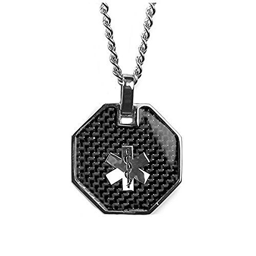 (My Identity Doctor USA | Medical Alert Mens Necklace with Pendant | Free Custom Engraving for Diabetes Warfarin Dialysis Stroke Pacemakers Carbon Finish, Steel, 22in (56cm) Chain)