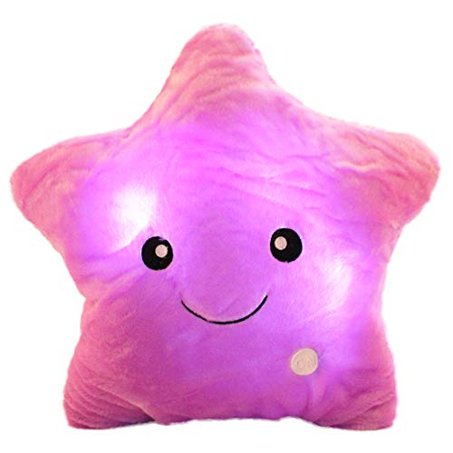 (sofipal Twinkle Star Shaped Plush Pillow, Creative LED Night Light Glow Cushions Stuffed Toys Gifts for Kids, Decoration (Purple))