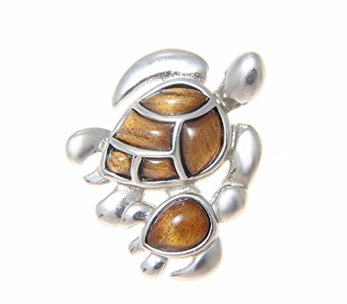Genuine inlay Hawaiian koa wood sea turtle mother baby slide pendant 925 sterling silver