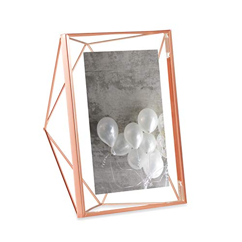 Umbra Prisma Picture Frame, 5x7 Photo Display for Desk or Wall, Copper