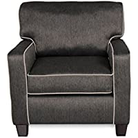 "Base Charcoal with Base Sand Welt Fabric Armchair with Tool-Free Assembly & 1-Year Warranty | Contemporary Casual Chair Design, 36""x36""x37"" Assembled"