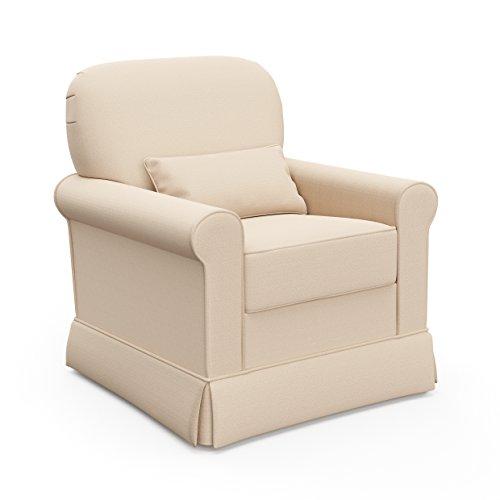 (Storkcraft Avalon Upholstered Swivel Glider, Desert Sand, Cleanable Upholstered Comfort Rocking Nursery Swivel Chair)