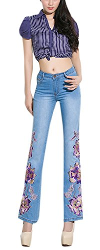 Women's Flowers Embroidered Faded Denim Bootcut Jeans Light Blue 31