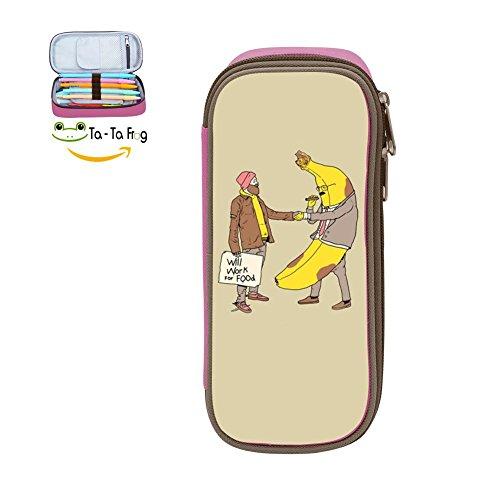 (bagshome Big Capacity Canvas Pen Case Holder for Kids,Print Friendly Bananas,Pink)