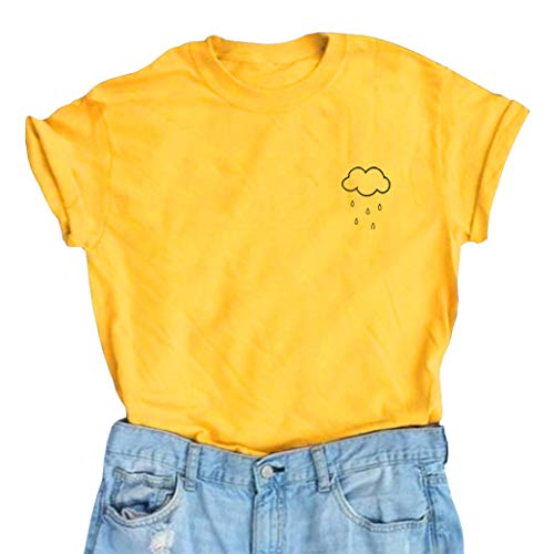 BLACKMYTH Women's Graphic Funny T Shirt Cute Tops Teen Girl Tees Yellow Medium for $<!--$10.99-->