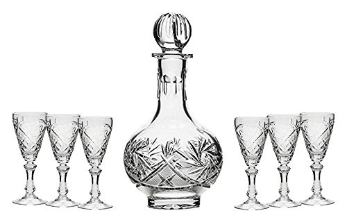 Set of 7 16-Oz Hand Made Vintage Cut Crystal Liquor Decanter Set with 6 Sherry Glasses, Russian Crystal Vodka Carafe, Old-fashioned Glassware Crystal Glass Sherry Glass