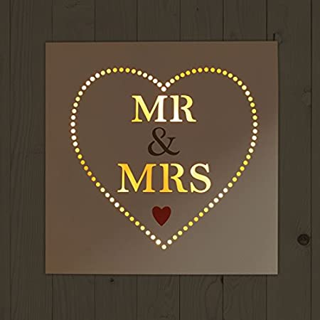 Mr. & Mrs. Cartel de madera con LED de iluminación - mr y ...