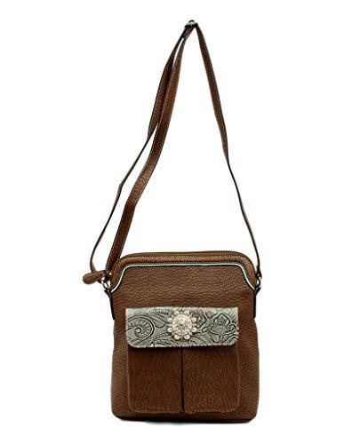 Blazin Roxx Women's Myra Floral Embossed Band Messenger Bag, Brown, OS -
