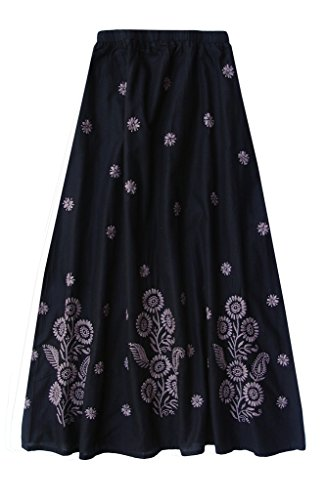 - Cotton Embroidered Skirt: Taupe Motif on Black: 4X