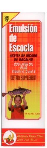 Emulsion De Escocia Cod Liver Fish Oil 15.3 Oz Strawberry Banana Vitamin A, D & E by PharmaLab