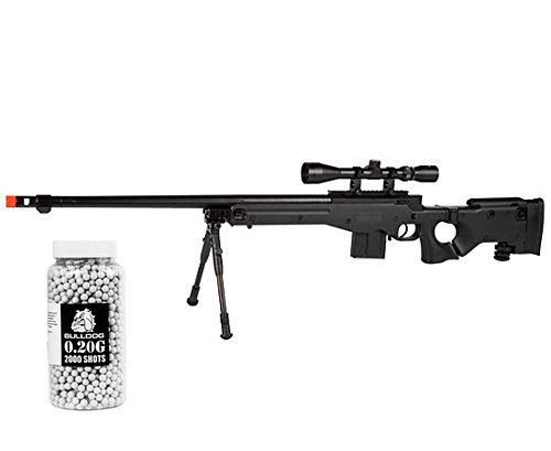 WELL MB4403 Airsoft Sniper Rifle High Powered Pro Rifle w/ Bipod Scope & FREE 0.20g 2000 Bulldog Pellets Set