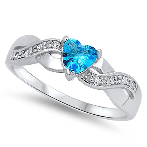 (Heart Simulated Aquamarine Unique Ring .925 Sterling Silver Infinity Knot Size 9)