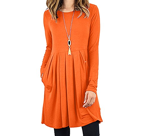 Fanfly Womens Pleated Swing Dress Long Sleeve Casual T Shirt Dress With Pockets Orange Large