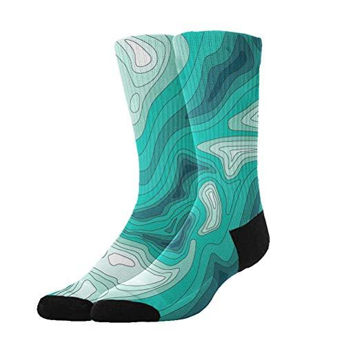 - KYWYN Green Topo Earth Science Unisex Premium Cotton Socks Funny Colorful Pattern Autumn Winter Socks Slipper Warm Socks