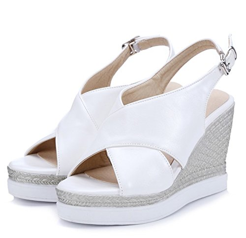 Womens Straps Heel White Trendy Slingback Platform Sandals Wedge Toe Open Buckle High Ankle Easemax ZndFqpZg