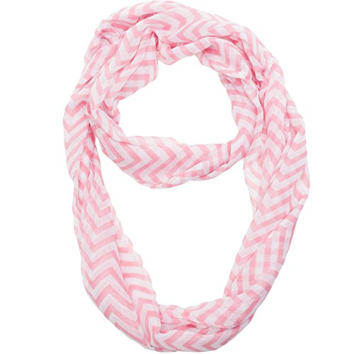 Silverhooks Womens Soft Infinity Circle Sheer Chevron Scarf (Pastel Pink/White) (Scarf Stripe Pink)
