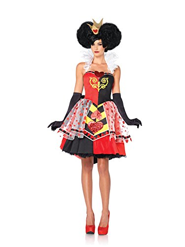 Leg Avenue Women's Disney 3Pc. Queen Of Hearts Costume, Black/Red, Small
