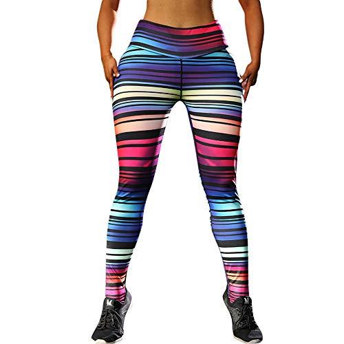 (Women Hight Waist Rainbow Color Yoga Stripe Print Legging Running Stretch Sports Pants Trouser)
