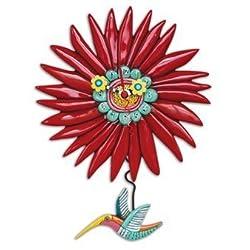 Allen Designs Humming Around Red Flower and Hummingbird Pendulum Wall Clock