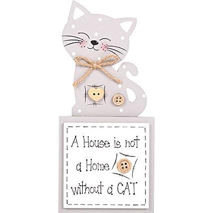Una casa no es un hogar sin gato - placa de madera decorativa ...