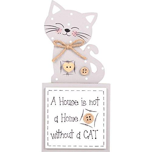Una casa no es un hogar sin gato - placa de madera decorativa MirrorOutlet - los amantes de los gatos - Crema/amarillento/placa gris - 18,5 cm: Amazon.es: ...