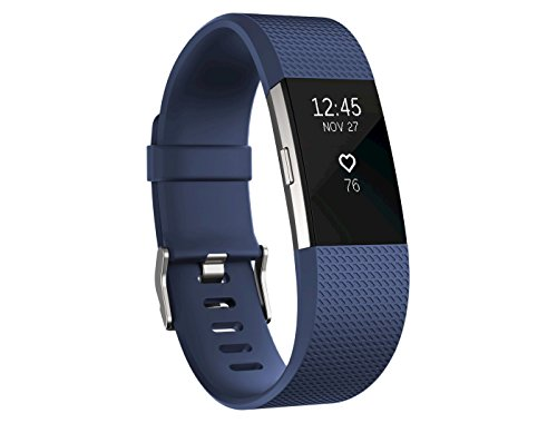 Fitbit Charge 2 Superwatch Wireless Smart Activity and Fitness Tracker + Heart Rate and Sleep Monitor Smart Wristband, Blue, Large (6.7-8.1 in) (Non-Retail Packaging)