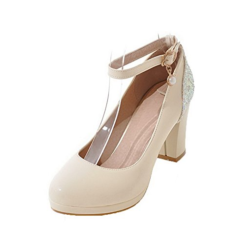 AmoonyFashion Womens PU High-Heels Round-Toe Studded Buckle Pumps-Shoes Beige Xm4lY0E