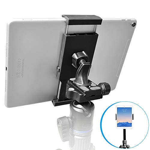 APPS2Car Sturdy Tablet and Phone Tripod Mount for iPad Samsung Tablet Cell Phone More, Rotatable Tiltable Tripod Adapter Stand Clamp Holder for Video Recording Photo Booth Live Music Camera