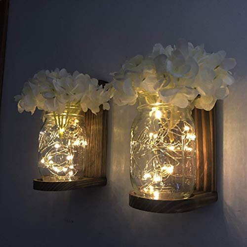 - Handmade Hanging Lighted Mason Jar Wall Sconce with LED Fairy Lights and White Hydrangeas