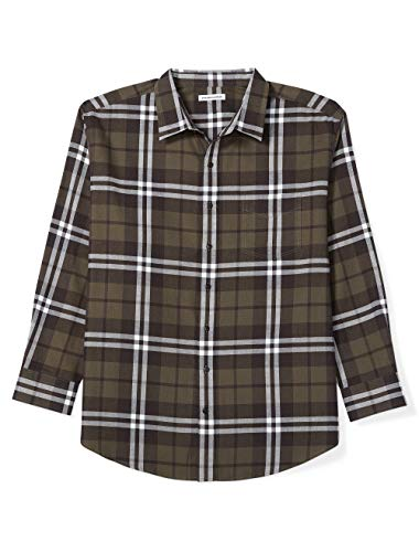 Amazon Essentials Men's Big & Tall Long-Sleeve Plaid Flannel Shirt, Olive, 3X (3 Button Flannel)