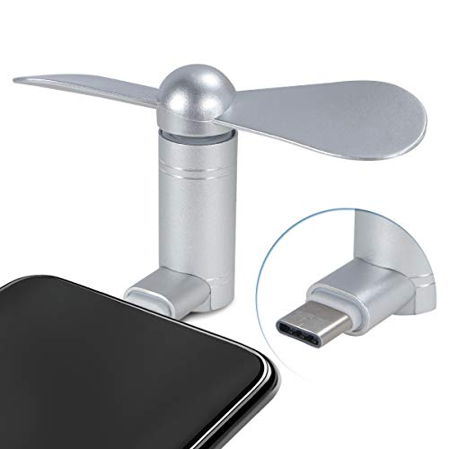 Cell Phone Fan, Portable Aluminum Alloy Shell Mobile Phone Fan Cooling Fan Air Conditioner Cooler, Mini Fan for Android Cell Phone, Compatible for Type C or Micro USB Port Phone Fan (Type C, Silver)