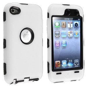 Hybrid Case Compatible with Apple iPod Touch 4th Generation, Black Hard/White Skin