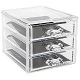MiniPoco New Clear Acrylic Desktop Cosmetic Storage Organizer Box 3 Drawers Makeup Cases