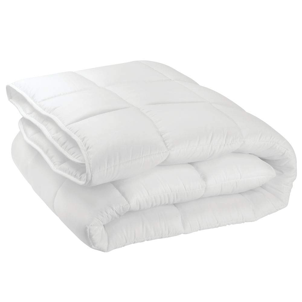 mDesign Full/Queen All-Season Down Alternative Quilted Duvet Insert or Stand-Alone Comforter - Plush Hypoallergenic Microfiber Fill, Box Stitched - Machine Washable - Optic White
