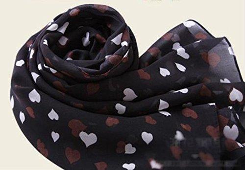 JOVANAS FASHION Sweet Love Heart Dots Printing Chiffon Shawl Scarf Wrap Stole Muffler (Black)