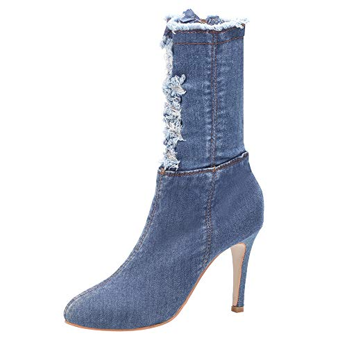 Red Ta Clearance Women High Heel Shoes Middle Tube Boots Denim Zipper Solid Color Pointed Toe ()