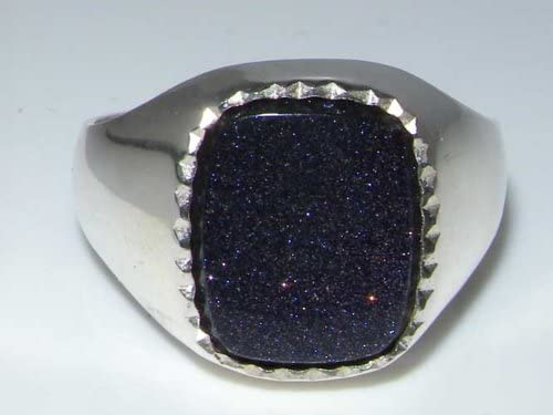 Sizes 8 to 12 Available Sterling Silver Mens Blue Goldstone Signet Ring