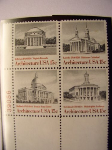 US Postage Stamps, 1979, American Architecture, S# 1779-83, Plate Block of 4 15 Cent Stamps, MNH - 1979 Architecture