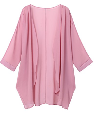 OLRAIN Women's Floral Print Sheer Chiffon Loose Kimono Cardigan Capes (Medium, Pink)