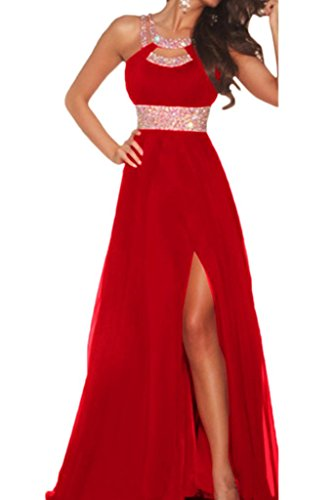 Audrey Bride Charming Beaded Bridesmaid Long Split Side Prom Evening Dress-4-Red