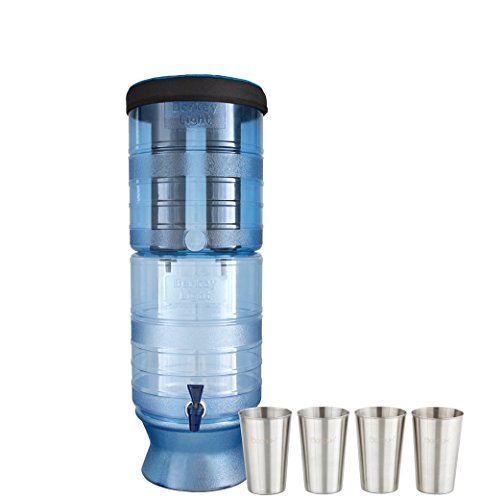 Berkey Light Berkey Water Filter with 2 Jet Purifier Filters (2.5 Gallons) System Bundled with 1-set of 4 Boroux 12 oz Stainless Steel Cups