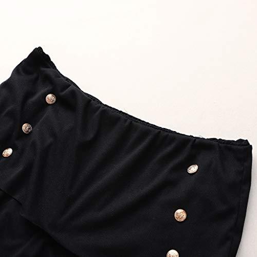 Chic Bouton Hip Noire Sac Sans Longues Et Bretelles Sexy Manches Épaule Mini Serré Robe Hiver Lubity Mot Pull Noir Femme Soirée Cocktail Automne 1gFpq