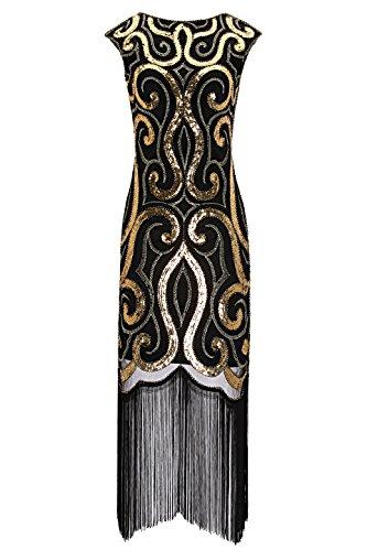 (Metme Women's Vintage Inspired 1920s V Neck Sequin Art Deco Flapper Dress Midi Dress for Prom M)