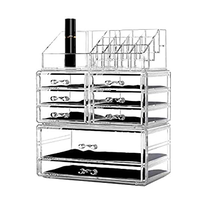 DreamGenius Makeup Organizer 3 Pieces Acrylic Jewelry and Cosmetic Storage Display Boxes with 8 Drawers Clear - Clear acrylic Makeup Organizer matches any decor! Keep your cosmetics neat and tidy. Interlocking and stackable design fit to other drawers so that you can DIY your own makeup organizer. You can also stack more drawers on top of the base or use them separately. Drawers with removable black velvet padding keep items protected and in place. Completely removable drawers slide out smoothly, and the molded handles are very easy to grab and pull out. Accessories not included. - organizers, bathroom-accessories, bathroom - 419D9t16GXL. SS400  -