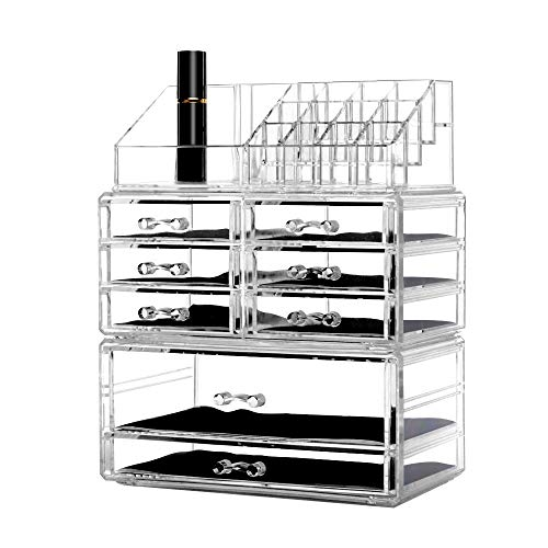 (Dream Genius Clear Acrylic 4 Tier Drawers and 16 Grid Stackable Cosmetic Makeup Storage Cube Organizer and Jewelry Storage Drawers Case Display,Great for Bathroom,Dresser,Vanity and Countertop)