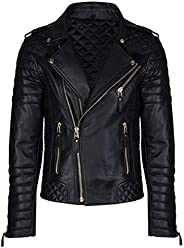 Aries Leathers Men's Real Lambskin Leather Genuine Motorcycle Jacket M