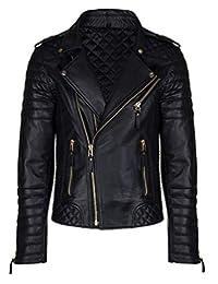 Aries Leathers Men's Real Lambskin Leather Genuine Motorcycle Jacket MJ300