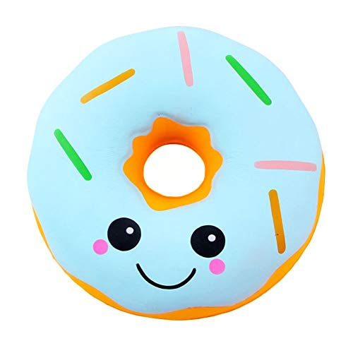 Ocamo 10 Inch Big Expressiones Donut Slow Rising Toy Children/Adult Vent Soft Squeeze Stress Relieve Toy Home Decoration Blue